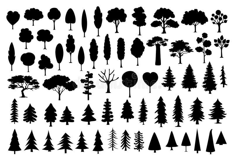 Συλλογή του διαφορετικού πάρκου, δάσος, σκιαγραφίες δέντρων κινούμενων σχεδίων κωνοφόρων στο μαύρο χρώμα απεικόνιση αποθεμάτων
