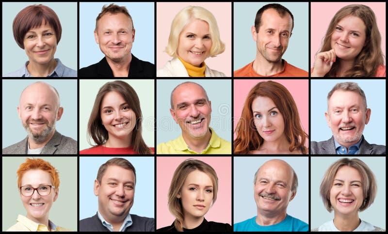 Συλλογή του ειδώλου των ανθρώπων Νέο και ανώτερο χαμόγελο προσώπων ανδρών και γυναικών στοκ φωτογραφία