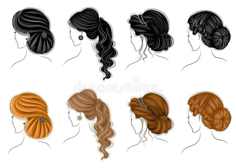 Συλλογή του θηλυκού hairstyles για συντομία, πολύ και της μέσης τρίχας Το Hairstyles είναι μοντέρνο, όμορφο και μοντέρνο Για τα b διανυσματική απεικόνιση