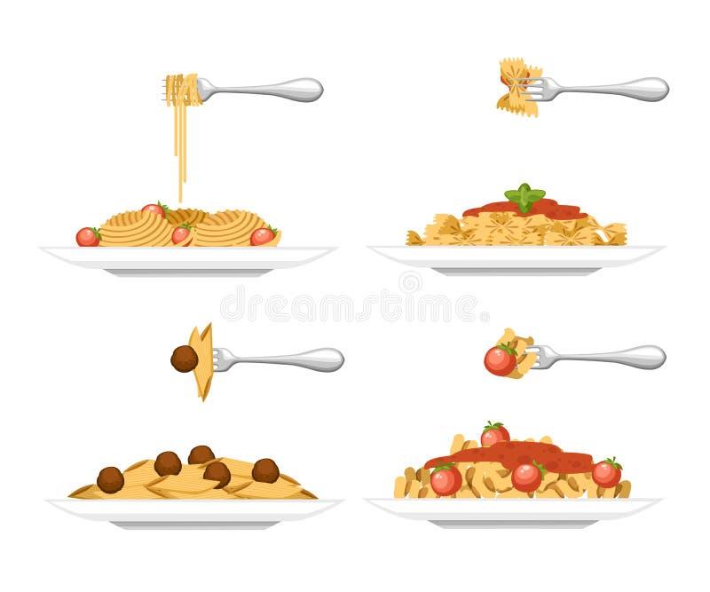 Συλλογή του πιάτου ζυμαρικών τεσσάρων τύπων Ζυμαρικά στο άσπρο πιάτο Επίπεδη απεικόνιση που απομονώνεται στο άσπρο υπόβαθρο Έτοιμ ελεύθερη απεικόνιση δικαιώματος