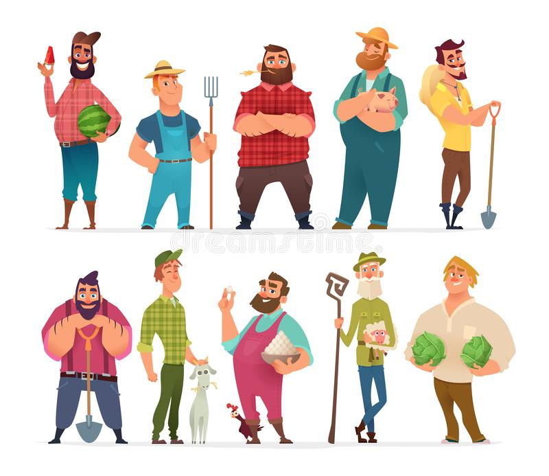 Συλλογή του σχεδίου αγροτικού χαρακτήρα Ευτυχείς και υγιείς αγρότες καθορισμένοι απεικόνιση αποθεμάτων