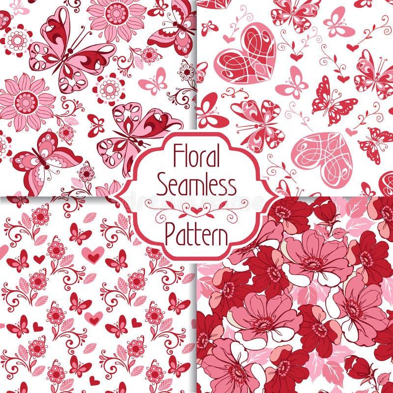 Συλλογή του floral άνευ ραφής σχεδίου με τις διακοσμητικές καρδιές και διανυσματική απεικόνιση