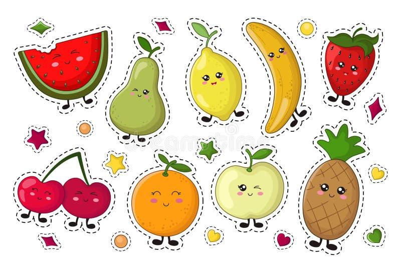 Συλλογή τροφίμων Kawaii ελεύθερη απεικόνιση δικαιώματος