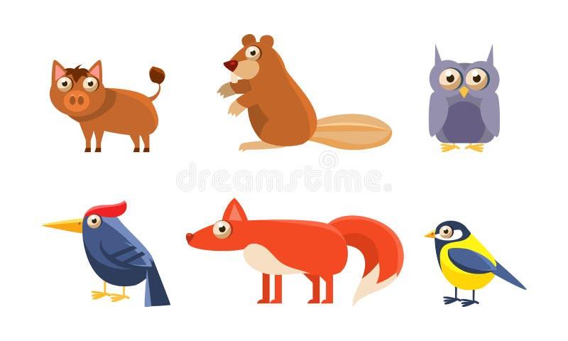 Συλλογή των άγριων δασικών ζώων, κάπρος, κάστορας, κουκουβάγια, owlet, δρυοκολάπτης, αλεπού, tit διανυσματική απεικόνιση πουλιών διανυσματική απεικόνιση