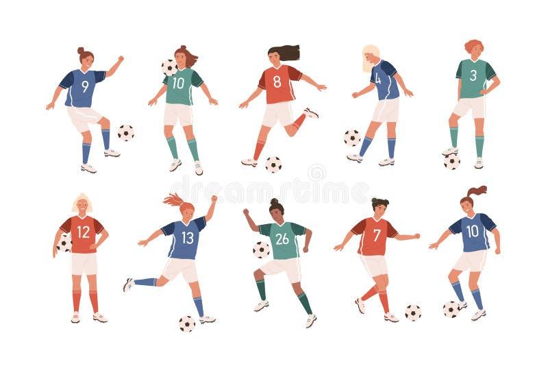 Συλλογή των αστείων θηλυκών ποδοσφαιριστών που απομονώνονται στο άσπρο υπόβαθρο Δέσμη των χαριτωμένων ευτυχών γυναικών που παίζου ελεύθερη απεικόνιση δικαιώματος