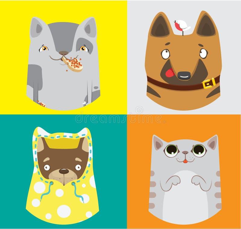 Συλλογή των αστείων σκυλιών και των γατών ζωηρόχρωμο διάνυσμα προτύπων στοιχείων χωριστά ελεύθερη απεικόνιση δικαιώματος