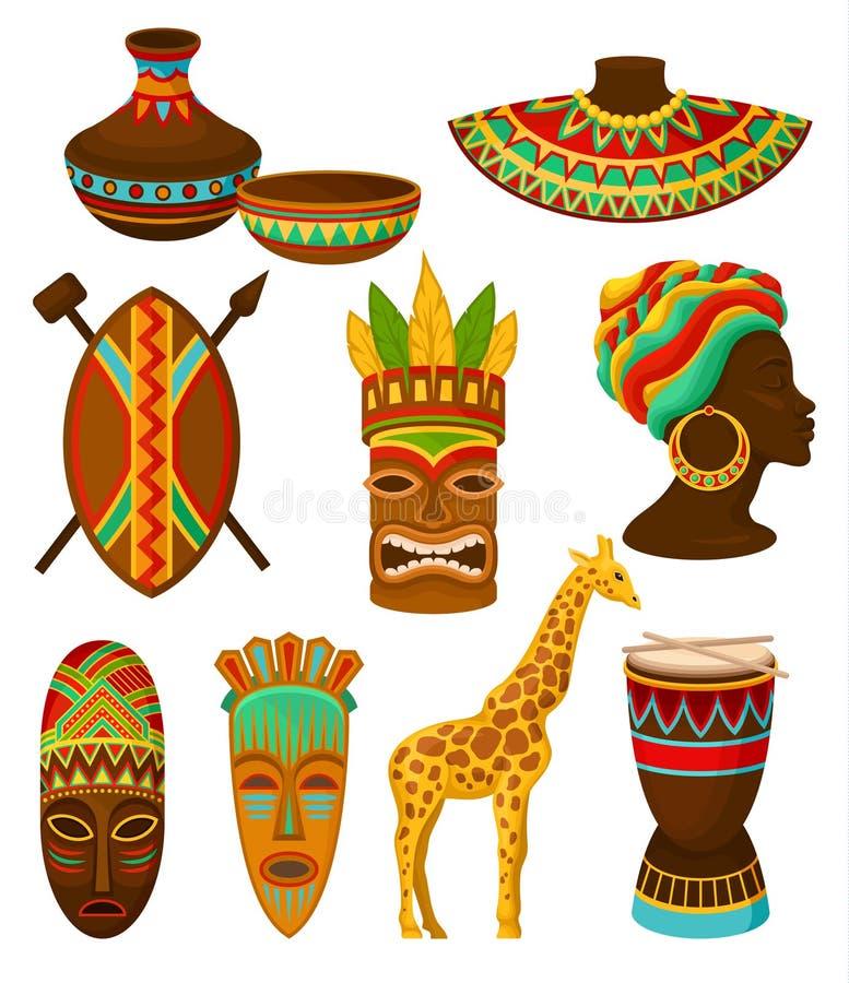 Συλλογή των αυθεντικών συμβόλων της Αφρικής, πιατικά, όπλο, μάσκα, τύμπανο με το παραδοσιακό εθνικό διάνυσμα διακοσμήσεων απεικόνιση αποθεμάτων