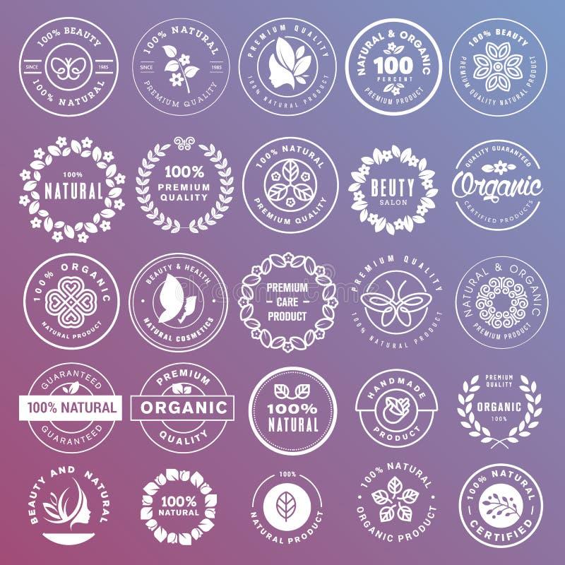 Συλλογή των αυτοκόλλητων ετικεττών και των διακριτικών για τα φυσικά καλλυντικά και τα προϊόντα ομορφιάς διανυσματική απεικόνιση
