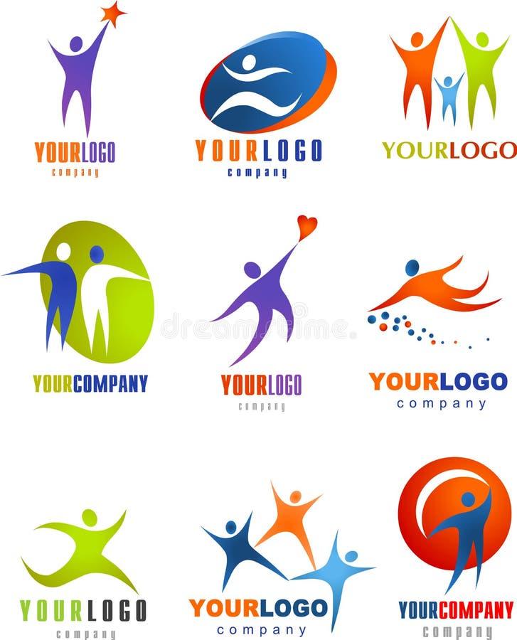 Συλλογή των αφηρημένων λογότυπων ανθρώπων ελεύθερη απεικόνιση δικαιώματος