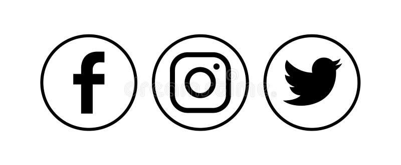 Συλλογή των δημοφιλών κοινωνικών λογότυπων μέσων επίσης corel σύρετε το διάνυσμα απεικόνισης διανυσματική απεικόνιση