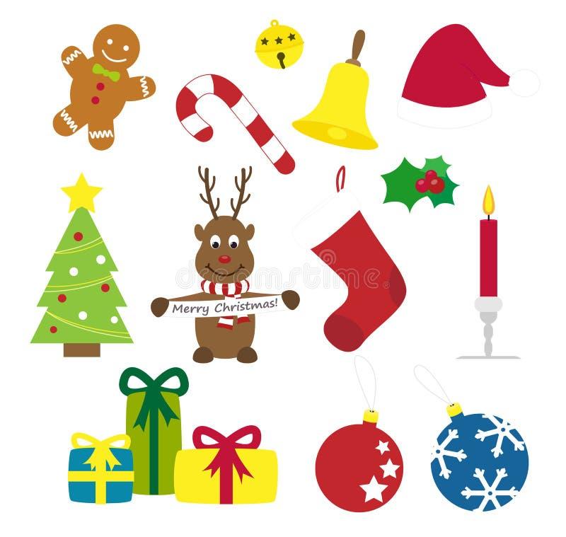 Συλλογή των διάφορων διανυσματικών στοιχείων Χριστουγέννων ελεύθερη απεικόνιση δικαιώματος