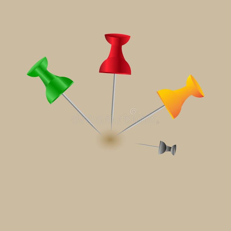Συλλογή των διάφορων κόκκινων καρφιτσών ώθησης πινέζες Τοπ όψη Στην άσπρη ανασκόπηση Σύνολο Μπροστινή όψη Τοπ όψη απεικόνιση αποθεμάτων