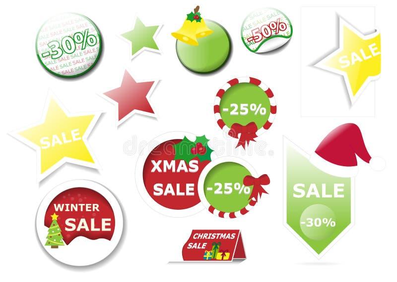 Συλλογή των διανυσματικών ετικεττών και της ετικέτας πώλησης Χριστουγέννων απεικόνιση αποθεμάτων