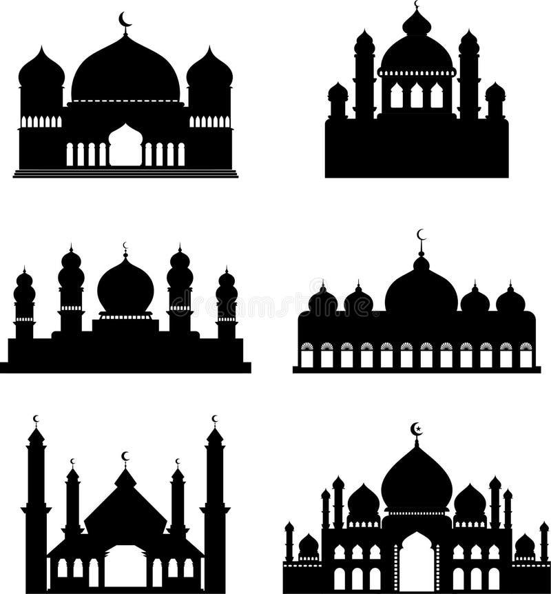 Συλλογή των διανυσματικών σκιαγραφιών των μουσουλμανικών τεμενών ελεύθερη απεικόνιση δικαιώματος