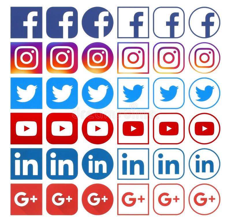 Συλλογή των διαφορετικών δημοφιλών κοινωνικών εικονιδίων μέσων στοκ εικόνα