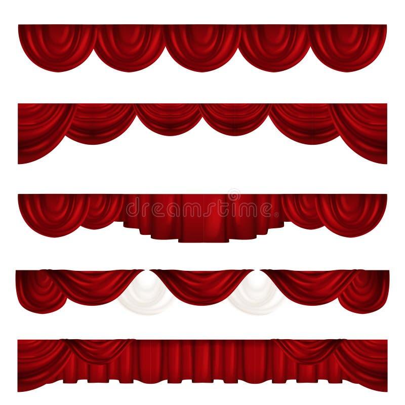 Συλλογή των διαφορετικών κουρτινών θεάτρων drapes κόκκινο βελούδο ελεύθερη απεικόνιση δικαιώματος