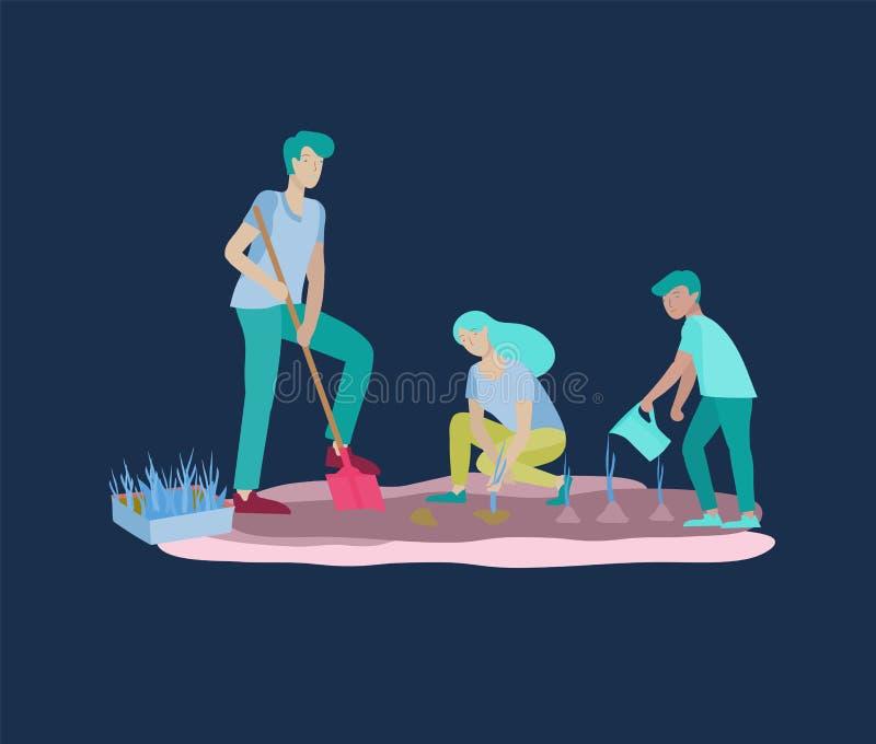Συλλογή των δραστηριοτήτων οικογενειακού χόμπι Η μητέρα, ο πατέρας και τα παιδιά διδάσκουν την κόρη στους νεαρούς βλαστούς κηπουρ ελεύθερη απεικόνιση δικαιώματος