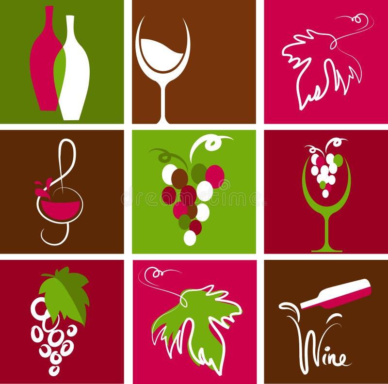 Συλλογή των εικονιδίων κρασιού απεικόνιση αποθεμάτων