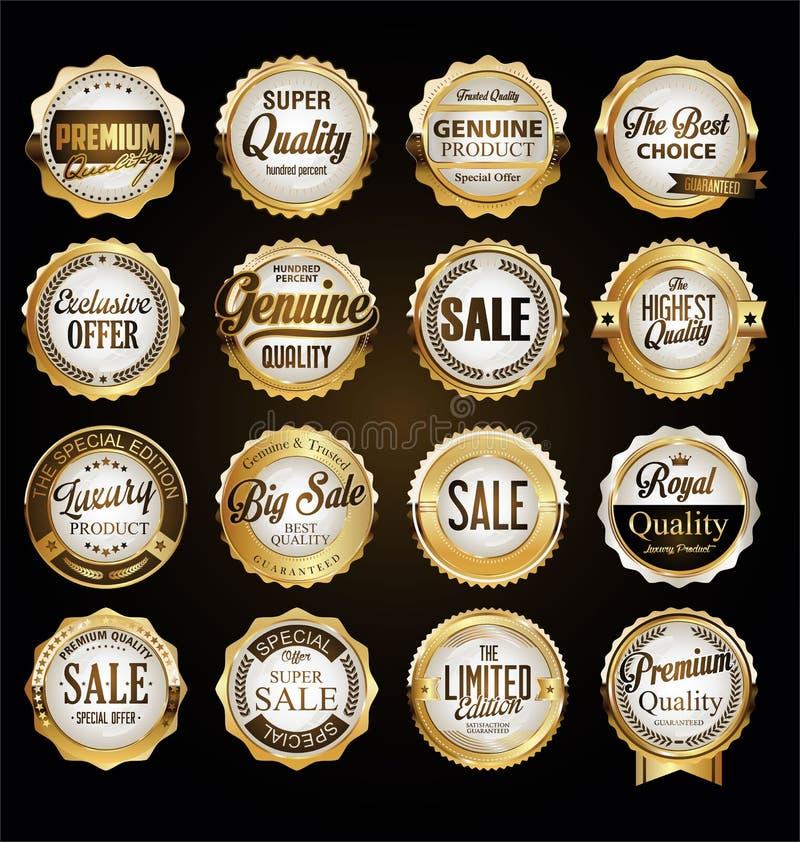 Συλλογή των εκλεκτής ποιότητας αναδρομικών χρυσών διακριτικών και των ετικετών εξαιρετικής ποιότητας ελεύθερη απεικόνιση δικαιώματος