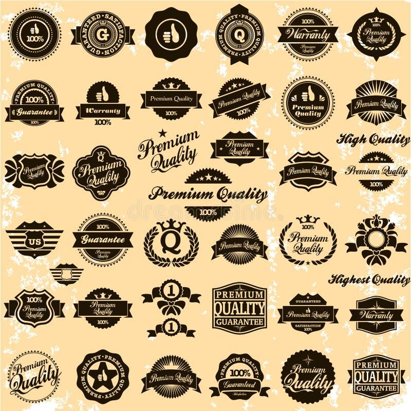 Συλλογή των ετικετών εξαιρετικών ποιότητας και εγγύησης ελεύθερη απεικόνιση δικαιώματος