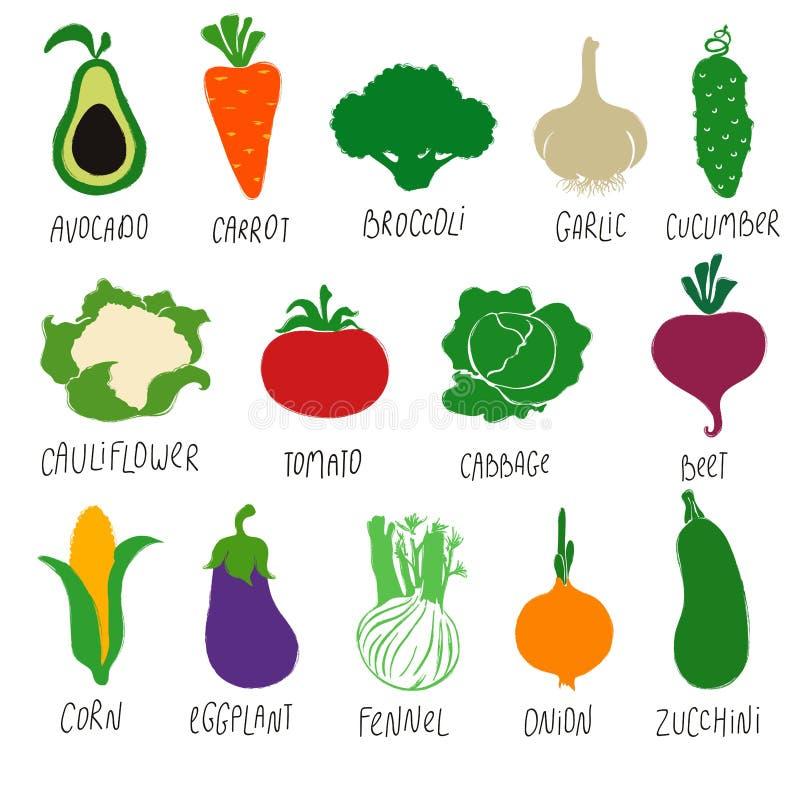 Συλλογή των ζωηρόχρωμων λαχανικών κινούμενων σχεδίων διανυσματική απεικόνιση