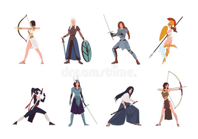 Συλλογή των θηλυκών πολεμιστών από τη Σκανδιναβικές, ελληνικές, αιγυπτιακές, ασιατικές μυθολογία και την ιστορία Σύνολο φθοράς γυ ελεύθερη απεικόνιση δικαιώματος