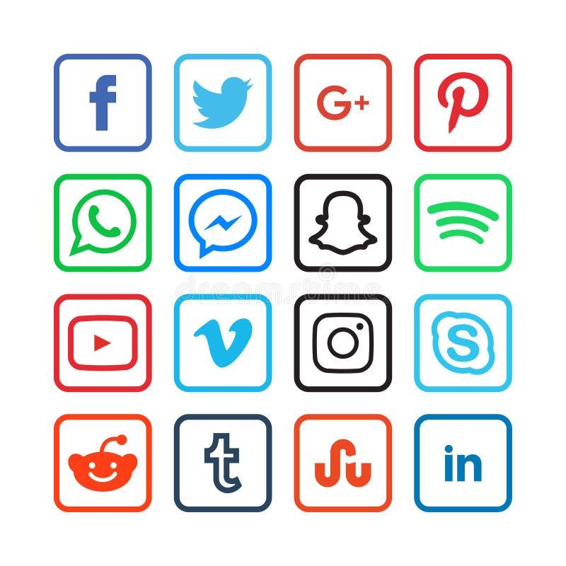 Συλλογή των κοινωνικών εικονιδίων μέσων διανυσματική απεικόνιση