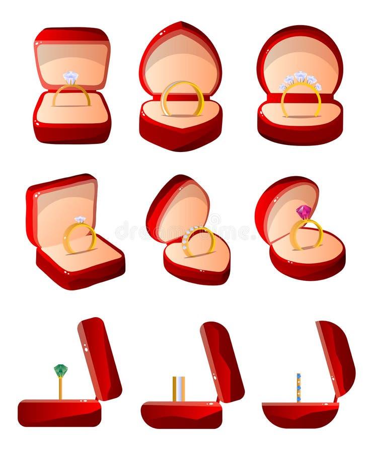 Συλλογή των κόκκινων ανοιγμένων βελούδο κιβωτίων δώρων με τα δαχτυλίδια, περιπτώσεις κοσμήματος της διανυσματικής απεικόνισης διά διανυσματική απεικόνιση
