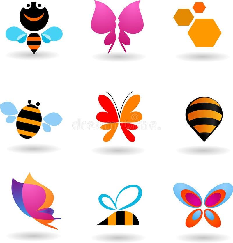 Συλλογή των λογότυπων πεταλούδων και μελισσών διανυσματική απεικόνιση