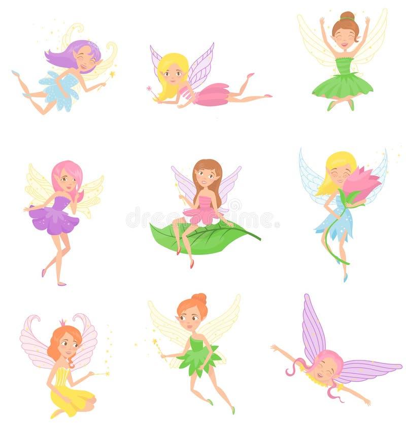 Συλλογή των μαγικών νεράιδων στα διαφορετικά φορέματα Χαριτωμένα κορίτσια με τα αυτιά νεραιδών, τη ζωηρόχρωμη τρίχα και τα μικρά  ελεύθερη απεικόνιση δικαιώματος