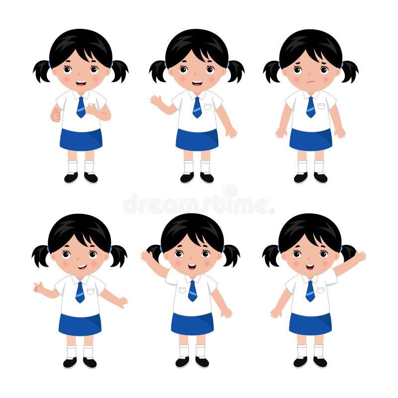 Συλλογή των μικρών κοριτσιών στη σχολική στολή διάνυσμα διανυσματική απεικόνιση