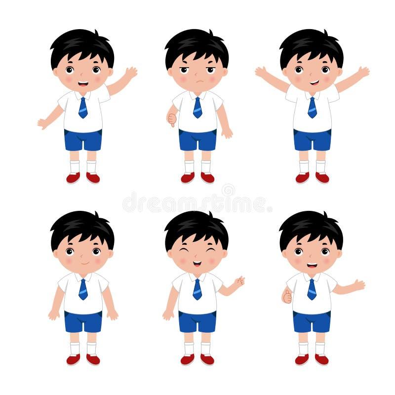 Συλλογή των μικρών παιδιών στη σχολική στολή διάνυσμα απεικόνιση αποθεμάτων