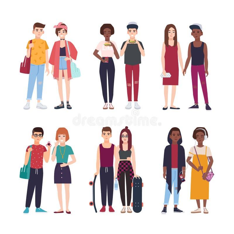 Συλλογή των νέων εφηβικών ζευγών που ντύνονται στα καθιερώνοντα τη μόδα ενδύματα Σύνολο ζευγαριών των μοντέρνων αγοριών και των κ διανυσματική απεικόνιση