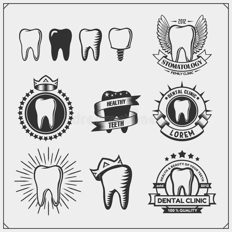 Συλλογή των οδοντικών λογότυπων και των εμβλημάτων κλινικών Οδοντικά εικονίδια, σημάδια και στοιχεία σχεδίου διανυσματική απεικόνιση