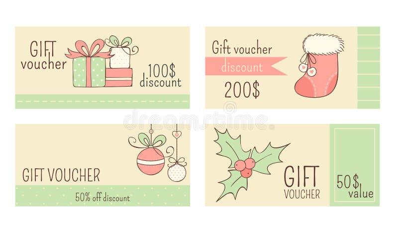 Συλλογή των οριζόντιων αποδείξεων δώρων Χριστουγέννων διανυσματική απεικόνιση