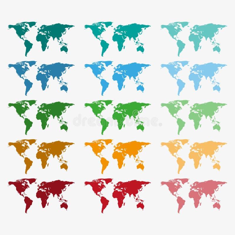 Συλλογή των παγκόσμιων χαρτών χρώματος με τις διαφορετικές συστάσεις Καθορισμένος παγκόσμιος χάρτης απεικόνιση αποθεμάτων