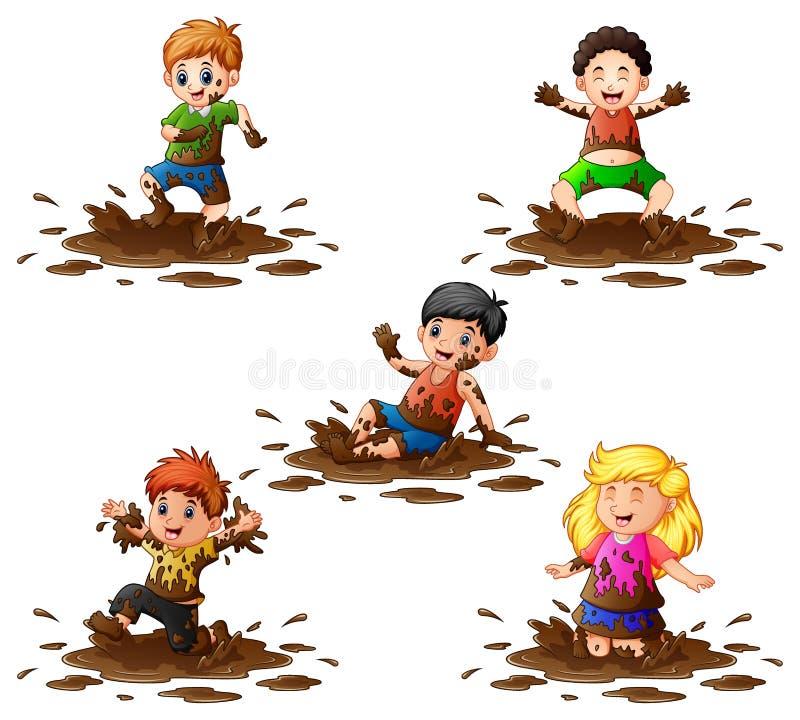 Συλλογή των παιδιών που παίζουν στη λάσπη διανυσματική απεικόνιση