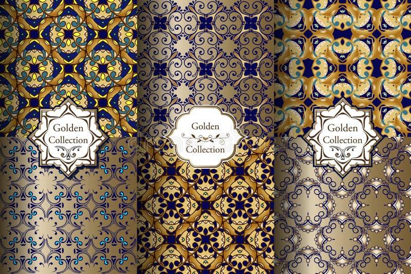 Συλλογή των πολυτελών άνευ ραφής μπλε και χρυσών σχεδίων διανυσματική απεικόνιση