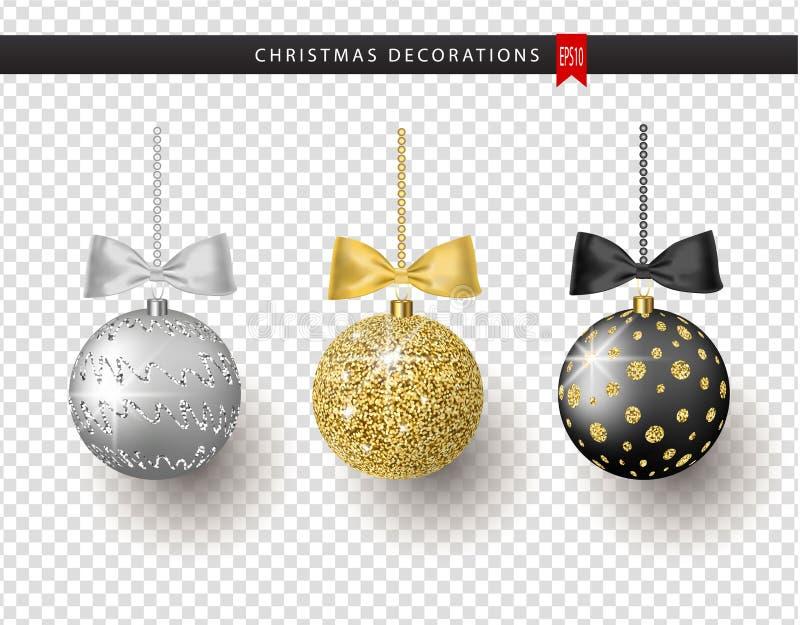 Συλλογή των ρεαλιστικών όμορφων λαμπρών σφαιρών Χριστουγέννων με το τόξο στο διαφανές υπόβαθρο νέο έτος διακοσμήσεων διανυσματική απεικόνιση