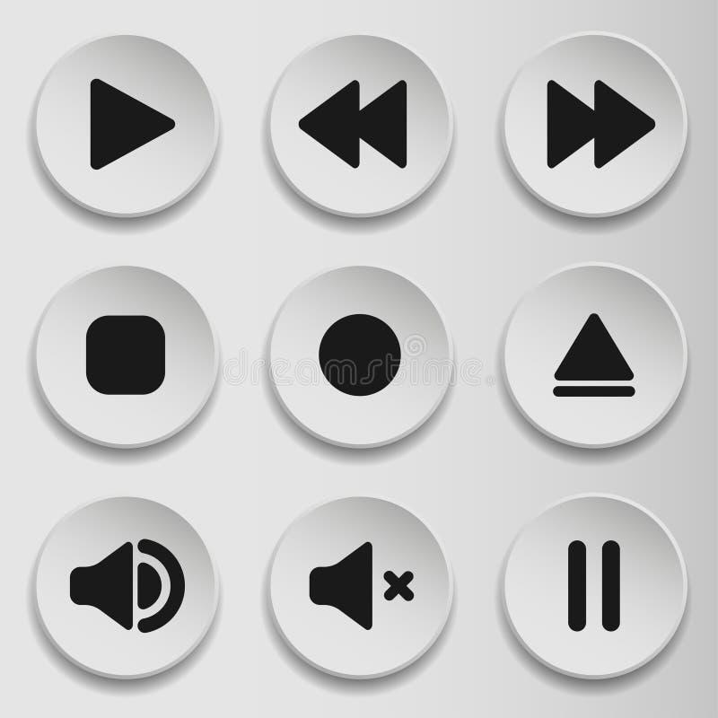 Συλλογή των συμβόλων πολυμέσων και ακουστικός, εικονίδια όγκου ομιλητών μουσικής Επίπεδο εικονίδιο ύφους στο γκρίζο υπόβαθρο r απεικόνιση αποθεμάτων