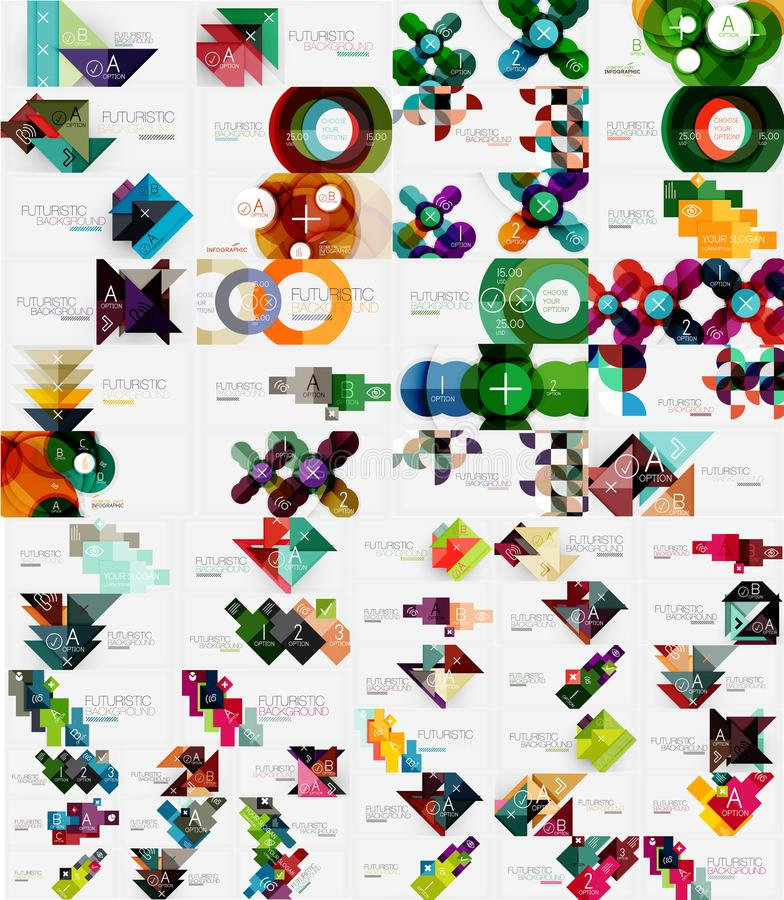 Συλλογή των σύγχρονων επιχειρησιακών infographic προτύπων φιαγμένη από αφηρημένες γεωμετρικές μορφές Μέγα σύνολο εμβλημάτων επιλο απεικόνιση αποθεμάτων