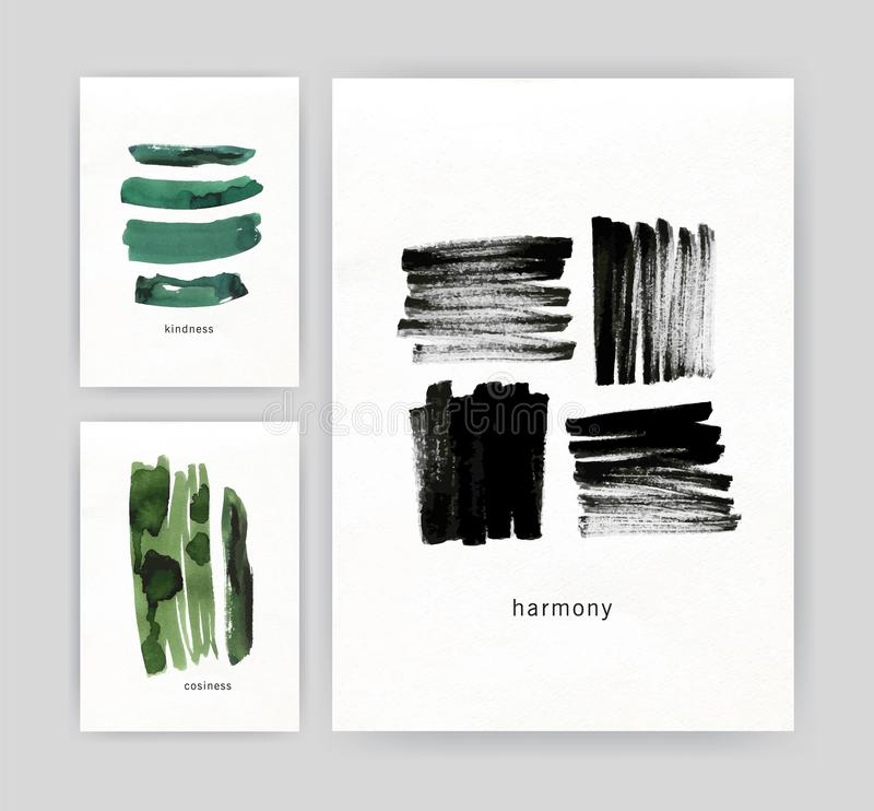 Συλλογή των σύγχρονων προτύπων αφισών ή ιπτάμενων με τα αφηρημένα πράσινα και μαύρα κτυπήματα βουρτσών, ίχνη χρωμάτων watercolor  διανυσματική απεικόνιση