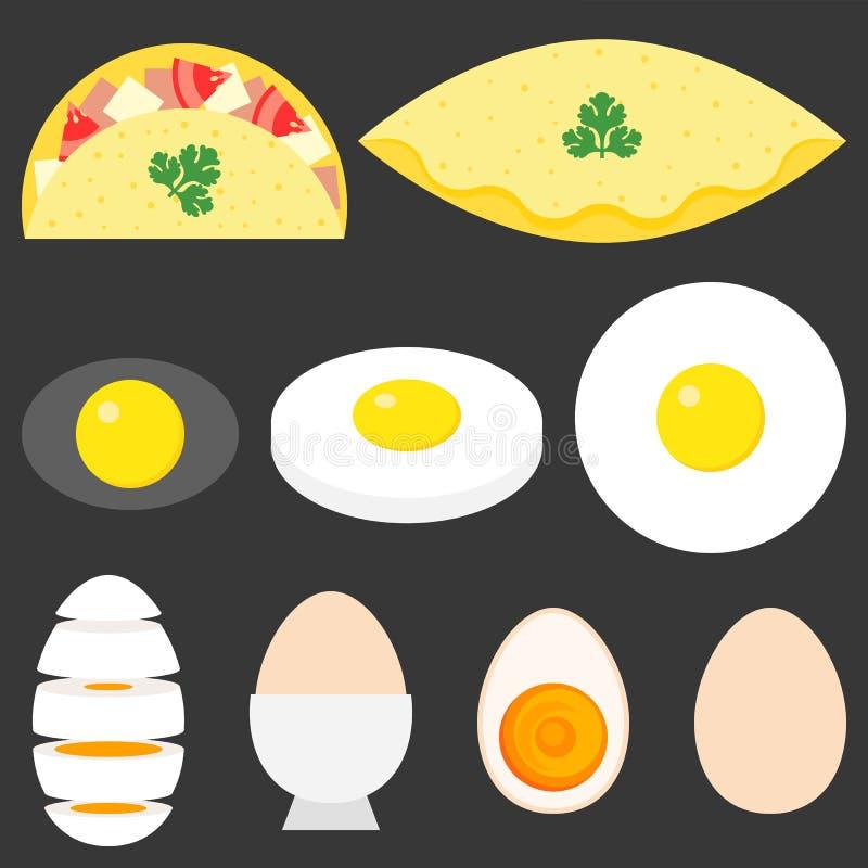 Συλλογή των τηγανισμένων αυγών διανυσματική απεικόνιση