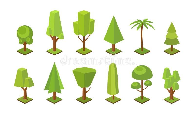 Συλλογή των χαμηλών πολυ δέντρων των διάφορων τύπων που απομονώνονται στο άσπρο υπόβαθρο Δέσμη των πράσινων polygonal δασικών εγκ διανυσματική απεικόνιση