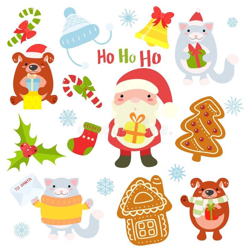 Συλλογή των χαρακτήρων Χριστουγέννων - χαριτωμένα ζώα και Santa διανυσματική απεικόνιση