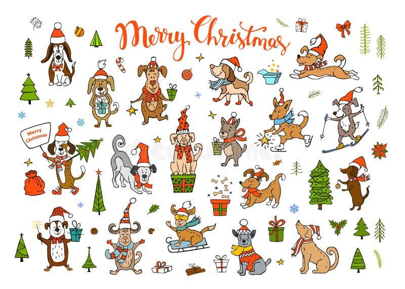 Συλλογή των χαριτωμένων αστείων Χριστουγέννων και καλής χρονιάς 2018 που χαιρετούν συγχαίροντας τα σκυλιά απεικόνιση αποθεμάτων