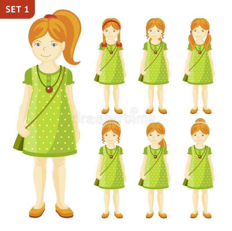 Συλλογή των χαριτωμένων μικρών κοριτσιών πιπεροριζών με τα διαφορετικά hairstyles διανυσματική απεικόνιση