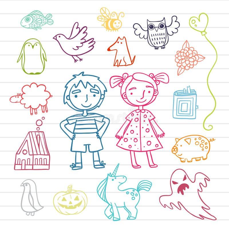 Συλλογή των χαριτωμένων παιδιών Doodles στοκ εικόνα