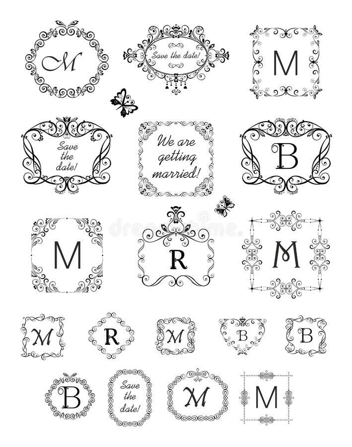 Συλλογή των όμορφων πλαισίων και του σύντομου χρονογραφήματος για το γαμήλιο σχέδιο, κάρτα επιλογών, εστιατόριο, καφές, ξενοδοχεί ελεύθερη απεικόνιση δικαιώματος