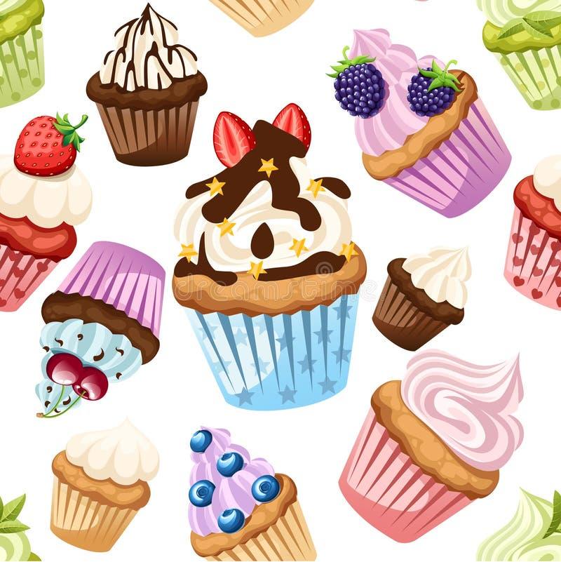 r Συλλογή των cupcakes με τα διαφορετικά συστατικά Σύνολο γλυκών κέικ Ζωηρόχρωμο επιδόρπιο E απεικόνιση αποθεμάτων